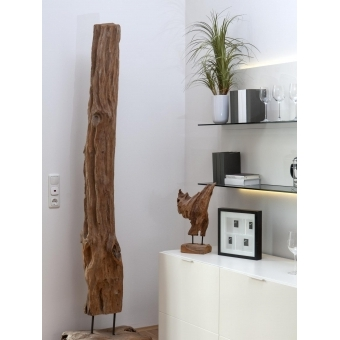 EUROPALMS Natural wood sculpture, slim 190cm #18