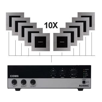 CIELO 100 - Ceiling Cuban Speaker Set +/-100m² COM6 + 10X CS2.1&WTR06