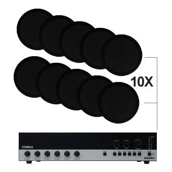 CIELO 120 - Ceiling Speaker Set +/-120m² COM24 + 10X CS75 - BLACK VERSION #2