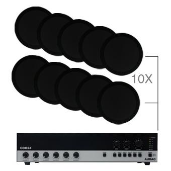 CIELO 120 - Ceiling Speaker Set +/-120m² COM24 + 10X CS75 - WHITE VERSION