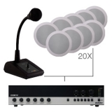 CIELO 200 - Ceiling Speaker Set +/-200m² COM12 + PDM200 + 20X CS55 - BLACK VERSION