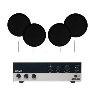 CIELO 40 - Ceiling Speaker Set +/-40m² COM3 + 4X CS55 - BLACK VERSION #2