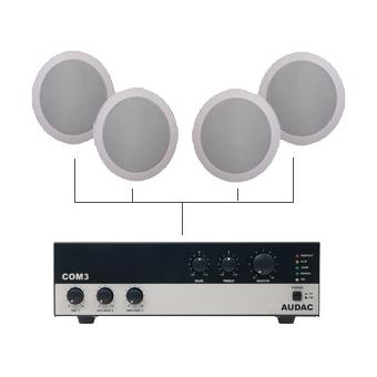 CIELO 40 - Ceiling Speaker Set +/-40m² COM3 + 4X CS55 - BLACK VERSION