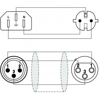 CAB402/10 - Schuko Power/xlr Female - Europower/xlr Male - 3g2.5 - 10m #2