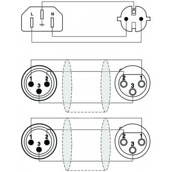 CAB405/10 - Schuko Power/2x Xlr Female -euro Power/2x Xlr Male - 10m #2
