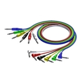 CAB790 - 6.3 mm Jack male stereo to 6.3 mm Jack Angled male stereo - Cable set of 6 colours - 0,9 METER