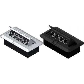 CB4XMM/B - Floor Connection Box - 4 Xlrmale Connectors/black