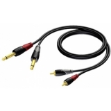 CLA631 - 2 x RCA/Cinch male to 2 x 6.3 mm Jack male - 2 METER