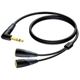 CLA720 - 6.3 mm Jack Angled male stereo to 2 x 6.3 mm Jack female stereo - 1 METER