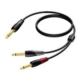 CLA721 - 6.3 mm Jack male stereo to 2 x 6.3 mm Jack male - 1 METER