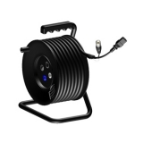 CRM602 - Cable reel Euro Power female & XLR male to 2 x Powercon female, XLR male & XLR female with balanced Microphone cable & 3G1 power cable - 25 meter