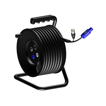 CRM603 - Cable reel  Blue Powercon & XLR male to 2 x Powercon female, XLR male & XLR female with balanced Microphone cable & 3G1 power cable - 25 meter