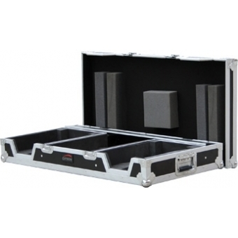 "FCDJ2819 - Professional flight case for 19"" DJ mixer and 2 single CD players (CDJ800/CDJ1000) with removable top lid."