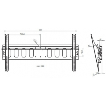 Wally L - inclinable flat panel wall bracket, black #2