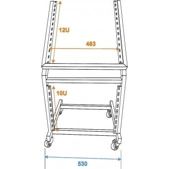 OMNITRONIC Rack Stand 12U/10U adjustable on Wheels #5