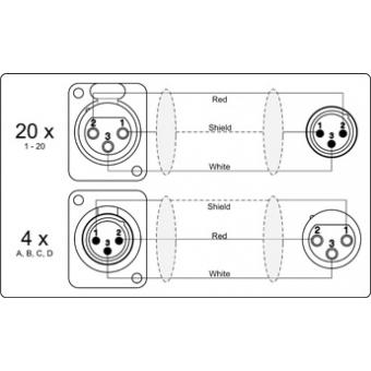 MSB20.4 - 20 x XLR female & 4 x XLR male to 4 x XLR female & 20 x XLR male - Multi stage block - 0 METER (NO CABLE) #3