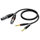 REF707 - 2 x XLR female to 2 x 6.3 mm Jack male - 1.5 METER - 20 PCK