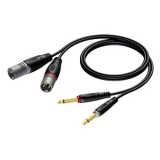 REF708 - 2 x XLR male to 2 x 6.3 mm Jack male - 1.5 METER - 20 PCK