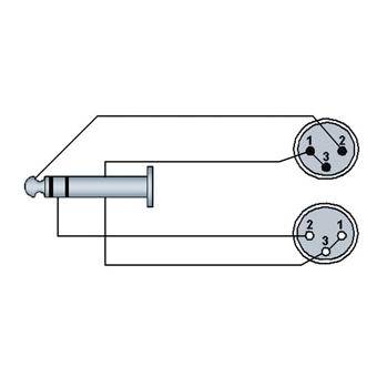 REF709 - 6.3 mm Jack male stereo to XLR male & XLR female - 3 METER - HANGER #2