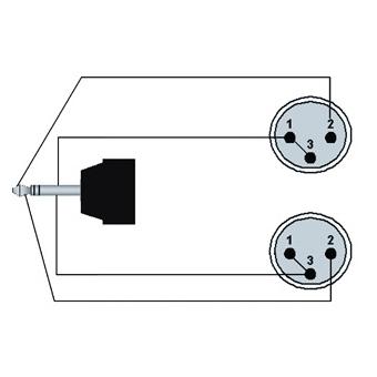 REF712/1.5-H - Mini Jack Male Stereo - 2x Xlrmale - 1.5m - Hanger #2
