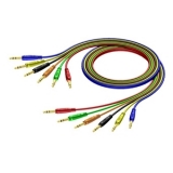 REF792 - 6.3 mm Jack male stereo to 6.3 mm Jack male stereo - Cable set in 6 colours - 0.6 METER 10 PCK