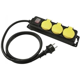 EUROLITE Distributor 3-fold IP44 bk 3m