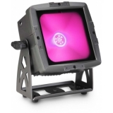 Cameo FLAT PRO FLOOD IP65 TRI - Outdoor Flood Light with 60 Watt Tri-Color COB LED in black housing