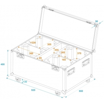 ROADINGER Flightcase 4x TMH FE-1800 with wheels #5