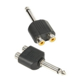 Adaptor 2xRCA mama la jack 6.3mm tata mono - Adam Hall 7548