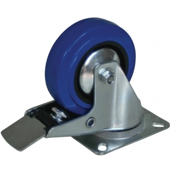"""CAS110L - Swivel Bearing Caster 4"""" (100mm) Blue Rubber W/ Brake"""