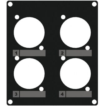CASY203/B - Casy 2 Space Cover Plate - 4 X D-size Holes - Black
