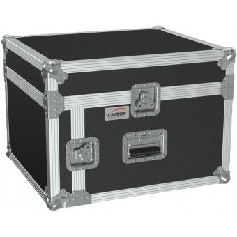 "FCC104/B - 19"" Open Combo Flightcase - 4 Unit + Mixer On Top - Black"