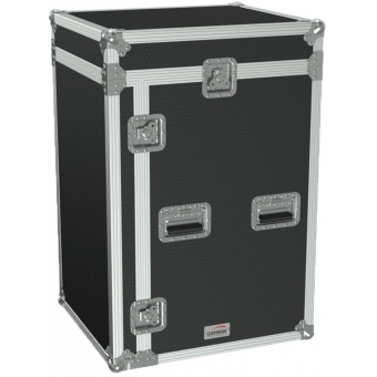 "FCC116/B - 19"" Open Combo Flightcase - 16unit + Mixer On Top - Black"