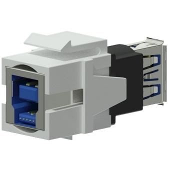 VCK630/W - Keystone Adapter Usb3.0 A To Usb3.0 B - Reversible - White