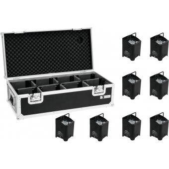 EUROLITE Set 8x AKKU UP-4 QCL Spot + Case