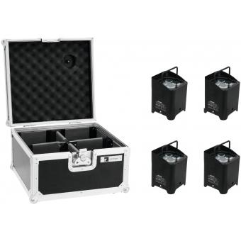 EUROLITE Set 4x AKKU UP-4 HCL Spot WDMX bk + Case