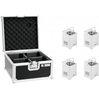 EUROLITE Set 4x AKKU UP-4 HCL Spot WDMX wh + Case