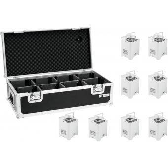 EUROLITE Set 8x AKKU UP-4 HCL Spot WDMX wh + Case