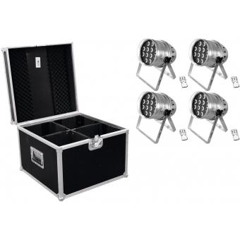 EUROLITE Set 4x LED PAR-64 HCL 12x10W sil + Case