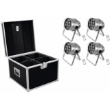 EUROLITE Set 4x LED PAR-64 HCL 12x10W sil + Case