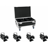 EUROLITE Set 4x LED THA-40PC bk + Case