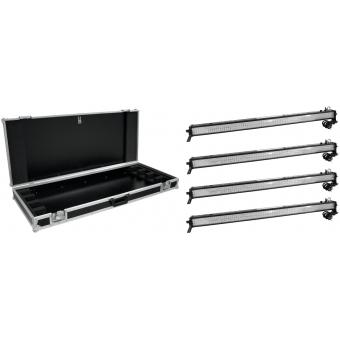 EUROLITE Set 4x LED BAR-252 RGB 10mm 20° black + Case