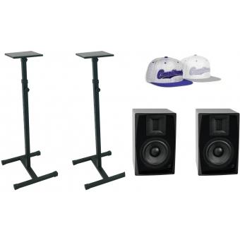 OMNITRONIC Set 2x ARM-6.5 studio monitor + 2x MO-1 stand