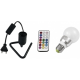EUROLITE Set LED A60 230V 5W E27 multicolor RC + Triangle base b