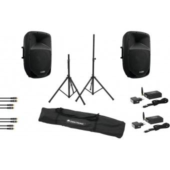 OMNITRONIC Set VFM-215AP + VFM-215A + WS-1T + WS-1R + Speaker st