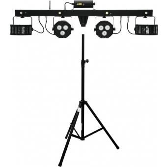 EUROLITE Set LED KLS Laser Bar FX + Speaker system stand alu bk