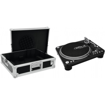 OMNITRONIC Set DD-5220L Turntable bk + Case tour Pro black -B-