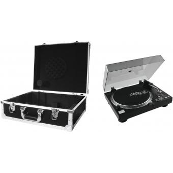 OMNITRONIC Set DD-2520 USB Turntable bk + Case black -S-