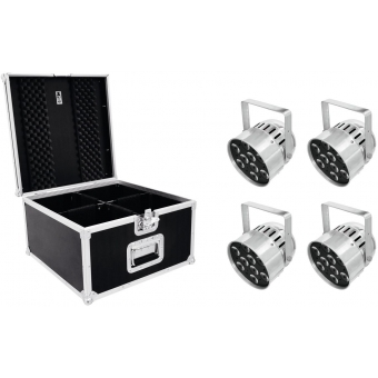 EUROLITE Set 4x LED PAR-56 QCL Short sil + PRO Case