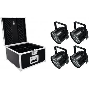EUROLITE Set 4x LED PAR-56 QCL Short sw + PRO Case